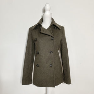 J Crew M grey khaki wool/thinsulate peacoat